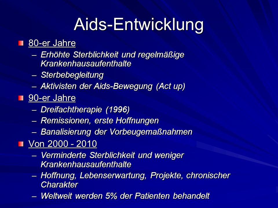 Aids-Entwicklung 80-er Jahre 90-er Jahre Von 2000 - 2010