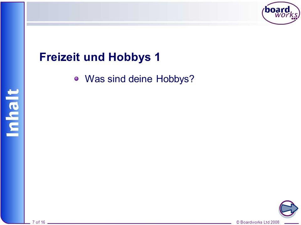 Inhalt Freizeit und Hobbys 1 Was sind deine Hobbys 7 of 16