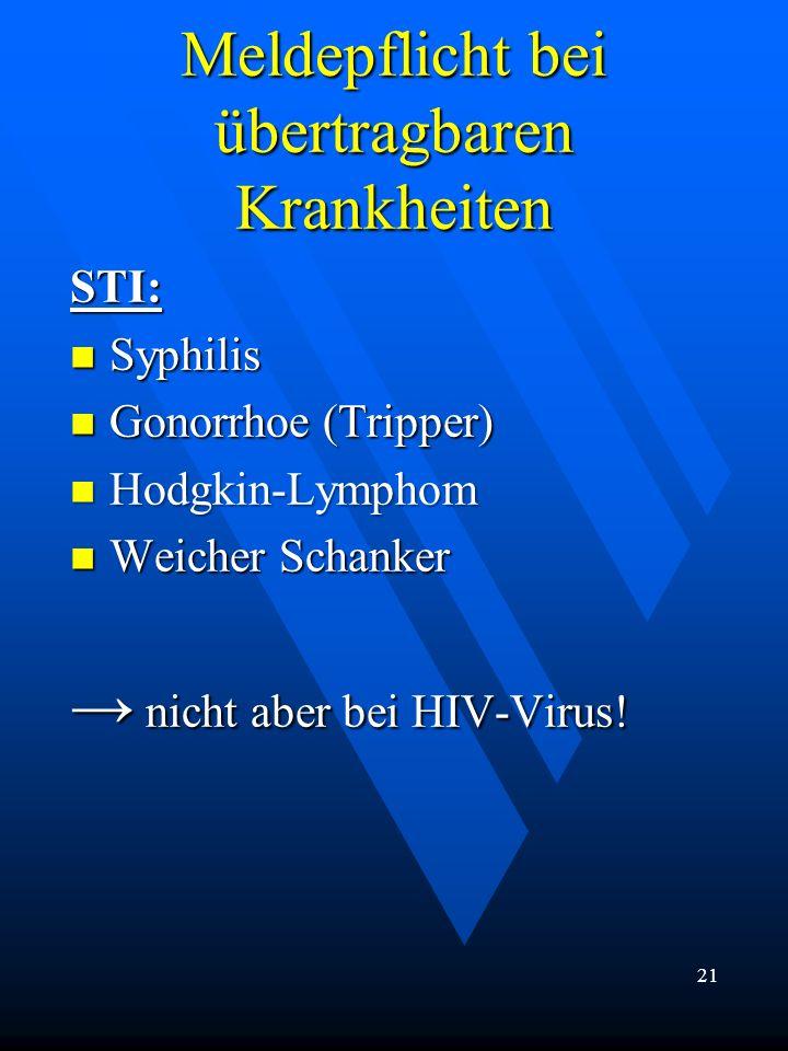 Meldepflicht bei übertragbaren Krankheiten