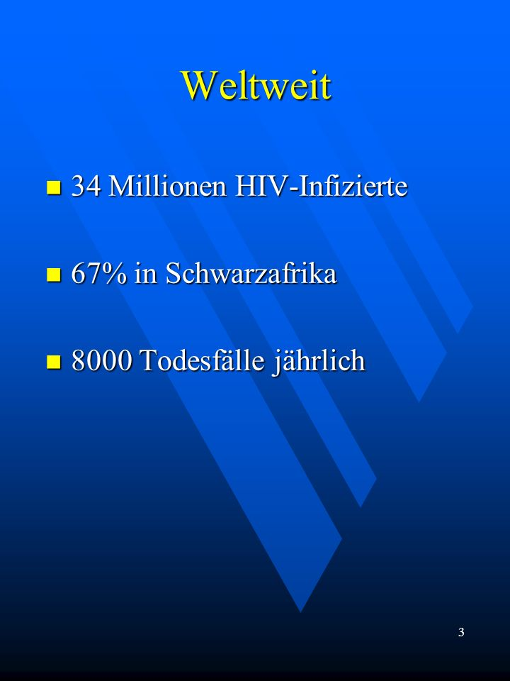 Weltweit 34 Millionen HIV-Infizierte 67% in Schwarzafrika