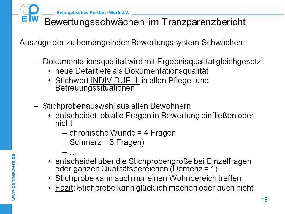 Bewertungsschwächen im Tranzparenzbericht