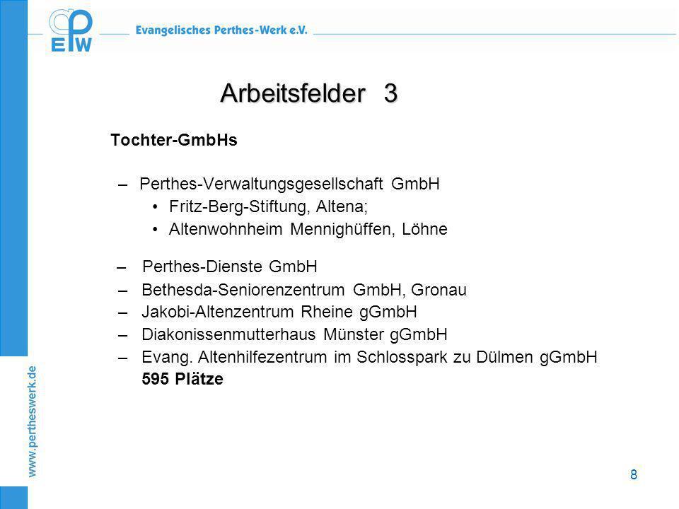Arbeitsfelder 3 Tochter-GmbHs Perthes-Verwaltungsgesellschaft GmbH