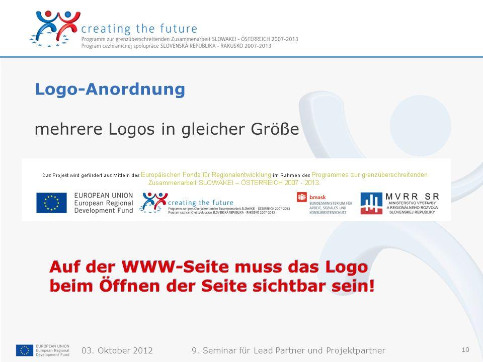 Logo-Anordnung mehrere Logos in gleicher Größe.