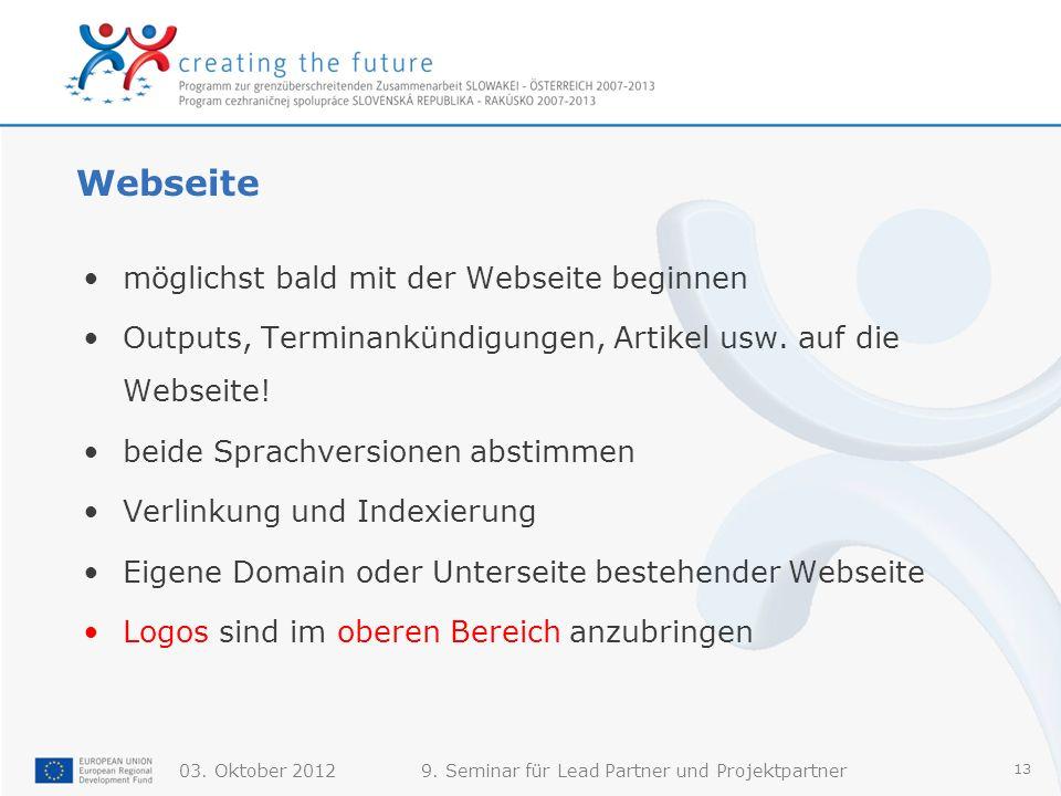 Webseite möglichst bald mit der Webseite beginnen