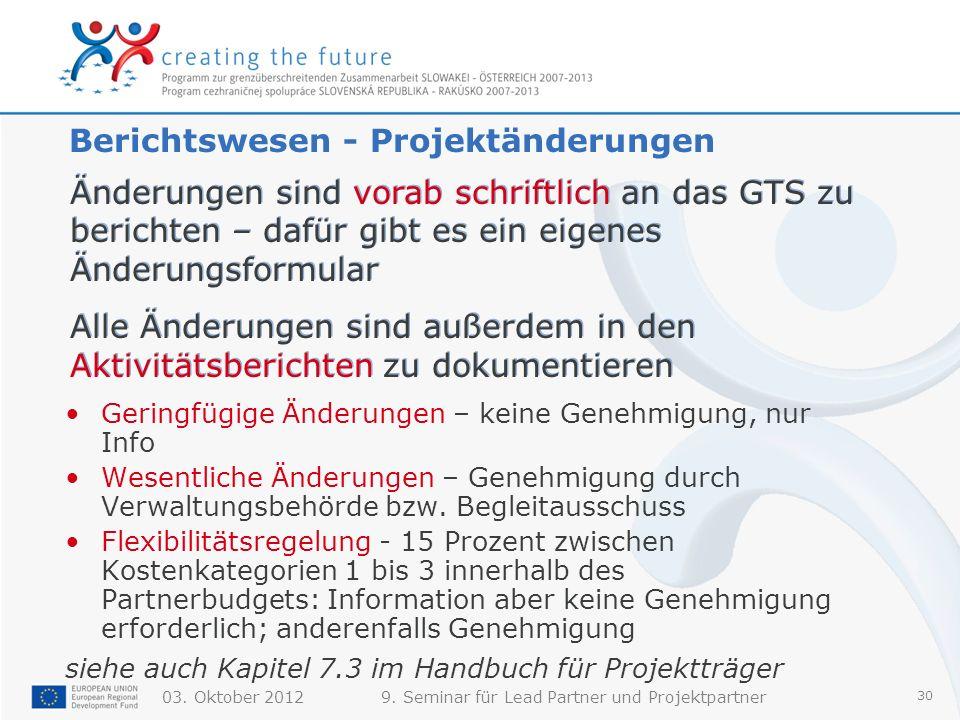 Berichtswesen - Projektänderungen