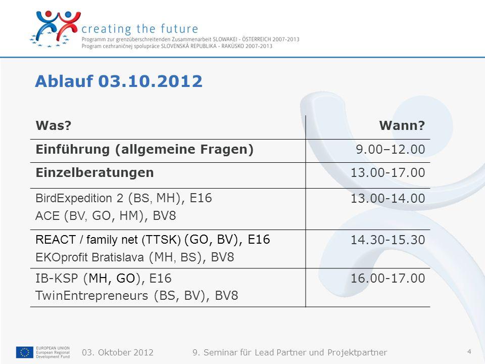 Ablauf 03.10.2012 Was Wann Einführung (allgemeine Fragen) 9.00–12.00