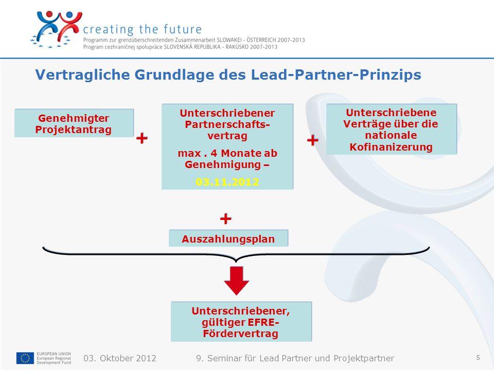 Vertragliche Grundlage des Lead-Partner-Prinzips
