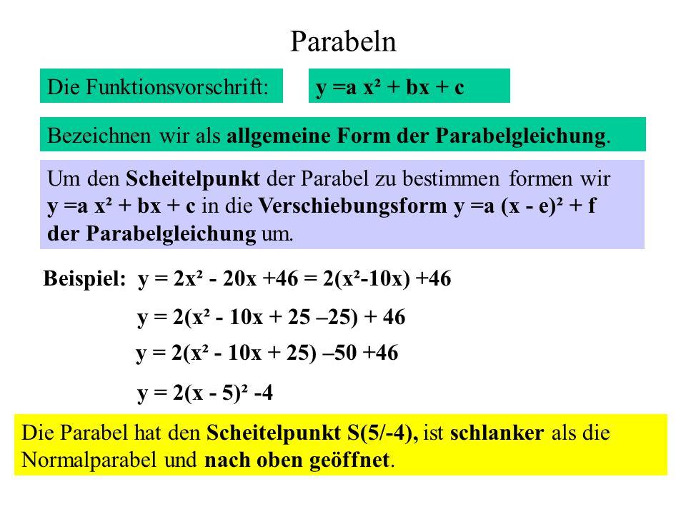 Parabeln Die Funktionsvorschrift: y =a x² + bx + c