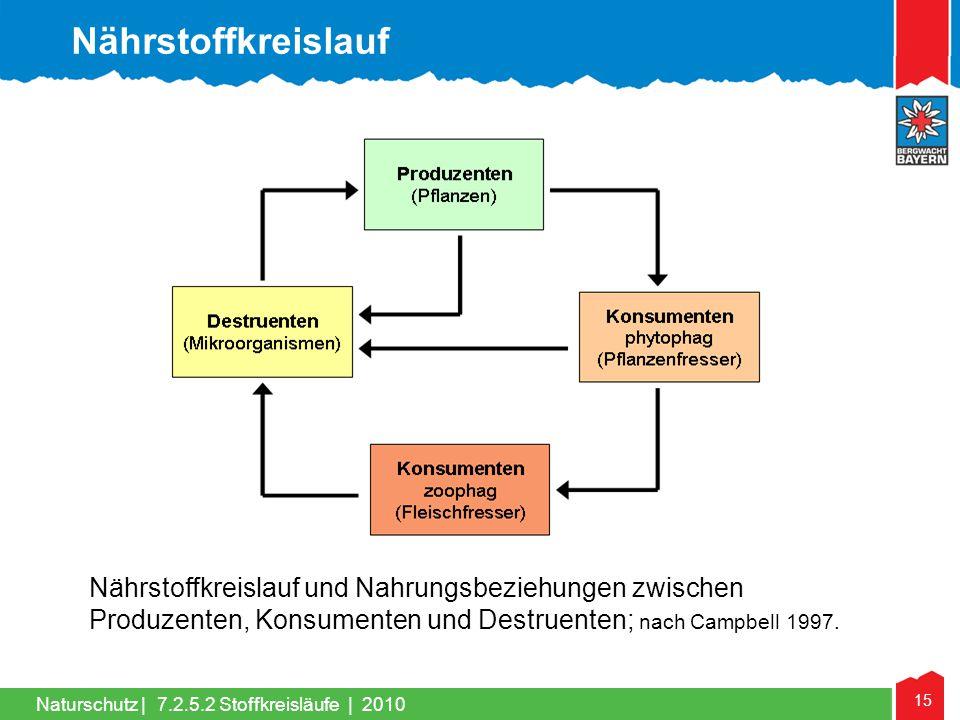 Nährstoffkreislauf Nährstoffkreislauf und Nahrungsbeziehungen zwischen Produzenten, Konsumenten und Destruenten; nach Campbell 1997.