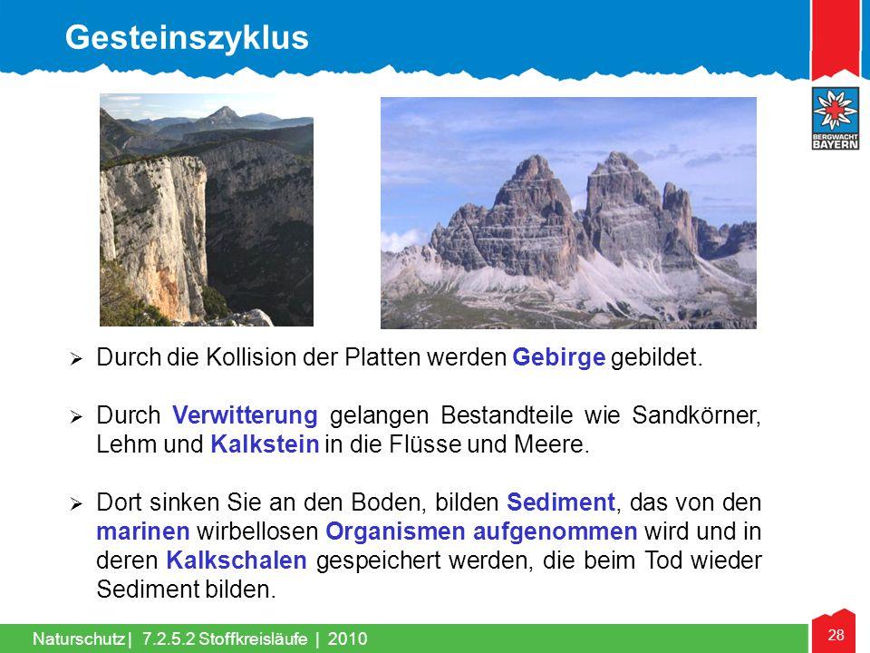 Gesteinszyklus Durch die Kollision der Platten werden Gebirge gebildet.
