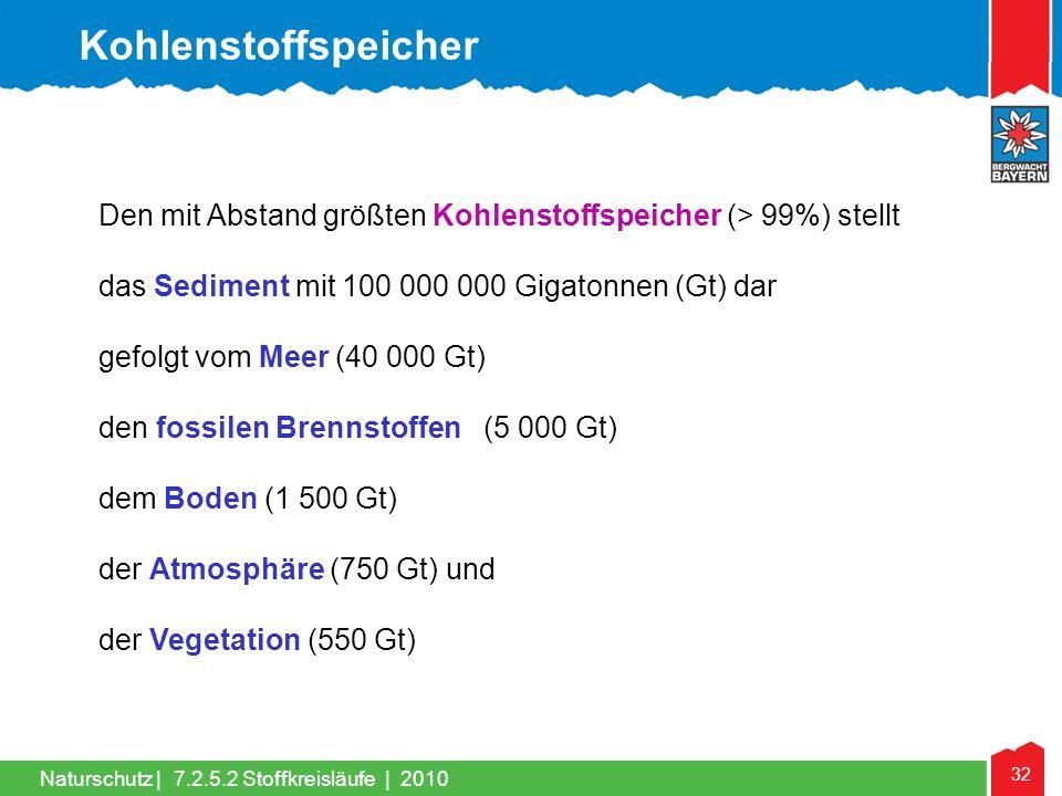 Kohlenstoffspeicher Den mit Abstand größten Kohlenstoffspeicher (> 99%) stellt. das Sediment mit 100 000 000 Gigatonnen (Gt) dar.