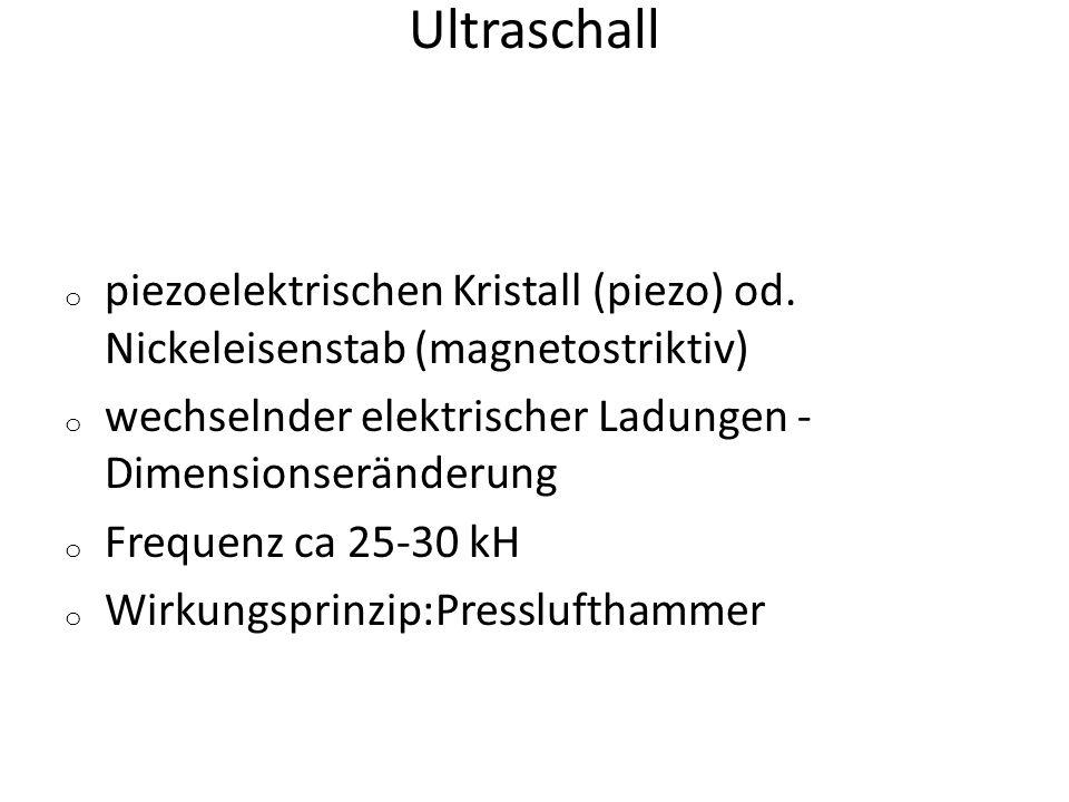 Ultraschall piezoelektrischen Kristall (piezo) od. Nickeleisenstab (magnetostriktiv) wechselnder elektrischer Ladungen - Dimensionseränderung.