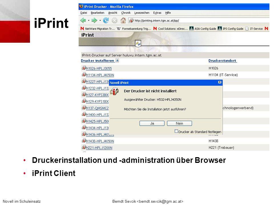 iPrint Druckerinstallation und -administration über Browser