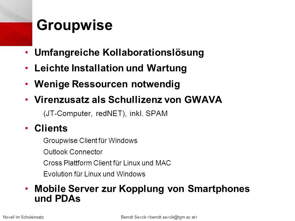 Groupwise Umfangreiche Kollaborationslösung