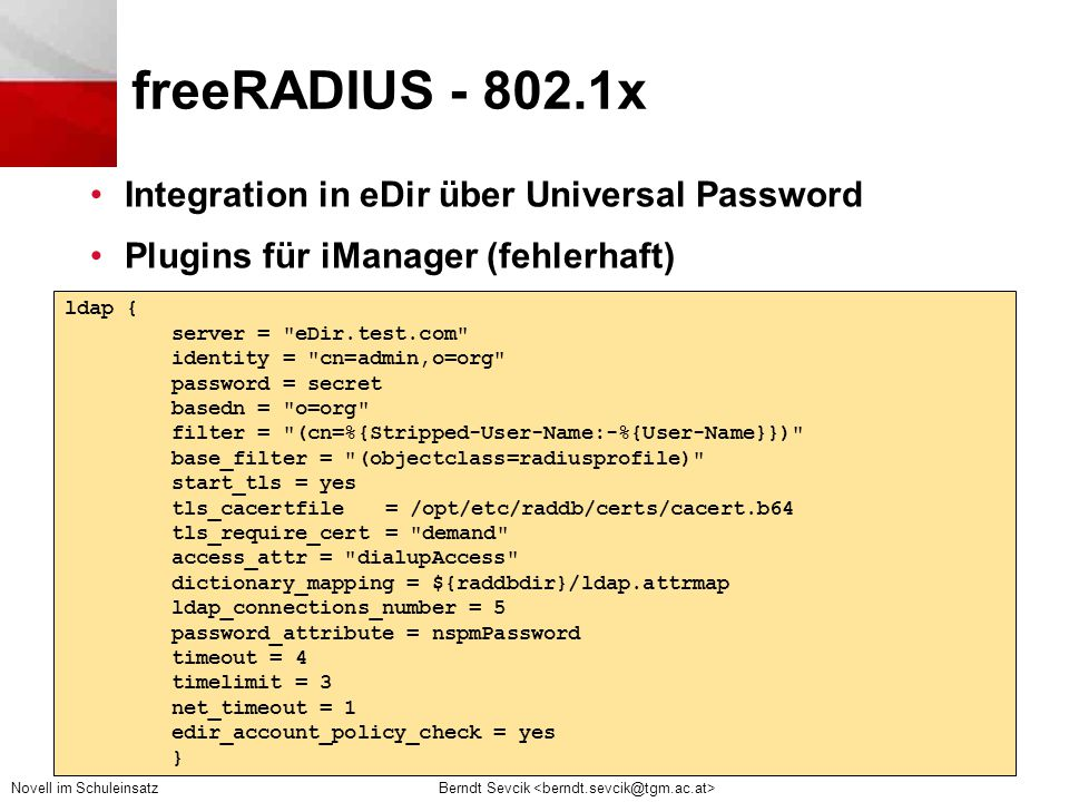 freeRADIUS - 802.1x Integration in eDir über Universal Password