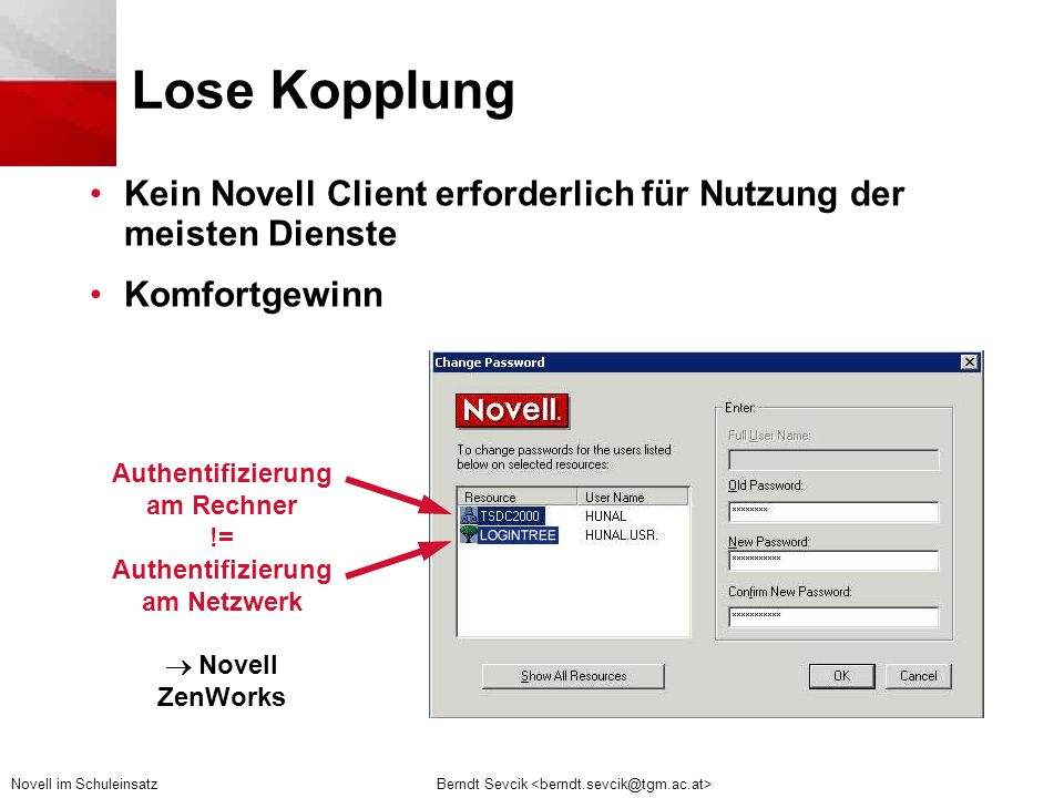 Authentifizierung am Rechner Authentifizierung am Netzwerk