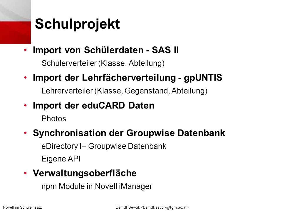 Schulprojekt Import von Schülerdaten - SAS II