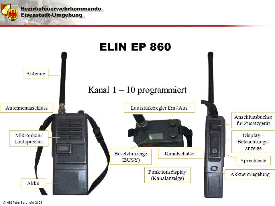 ELIN EP 860 Kanal 1 – 10 programmiert Antenne Antennenanschluss
