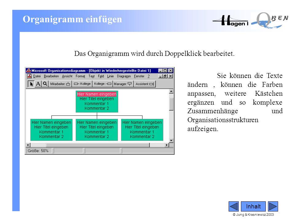 Organigramm einfügen Das Organigramm wird durch Doppelklick bearbeitet.