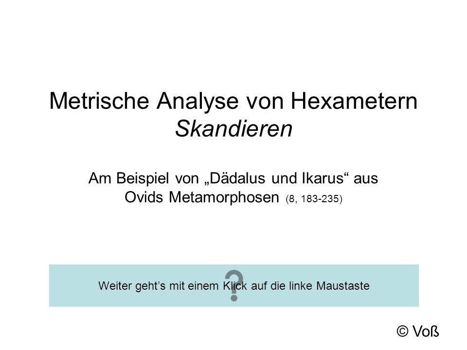 Metrische Analyse von Hexametern Skandieren