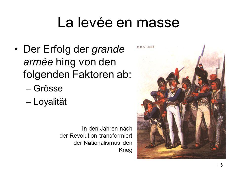 La levée en masse Der Erfolg der grande armée hing von den folgenden Faktoren ab: Grösse. Loyalität.