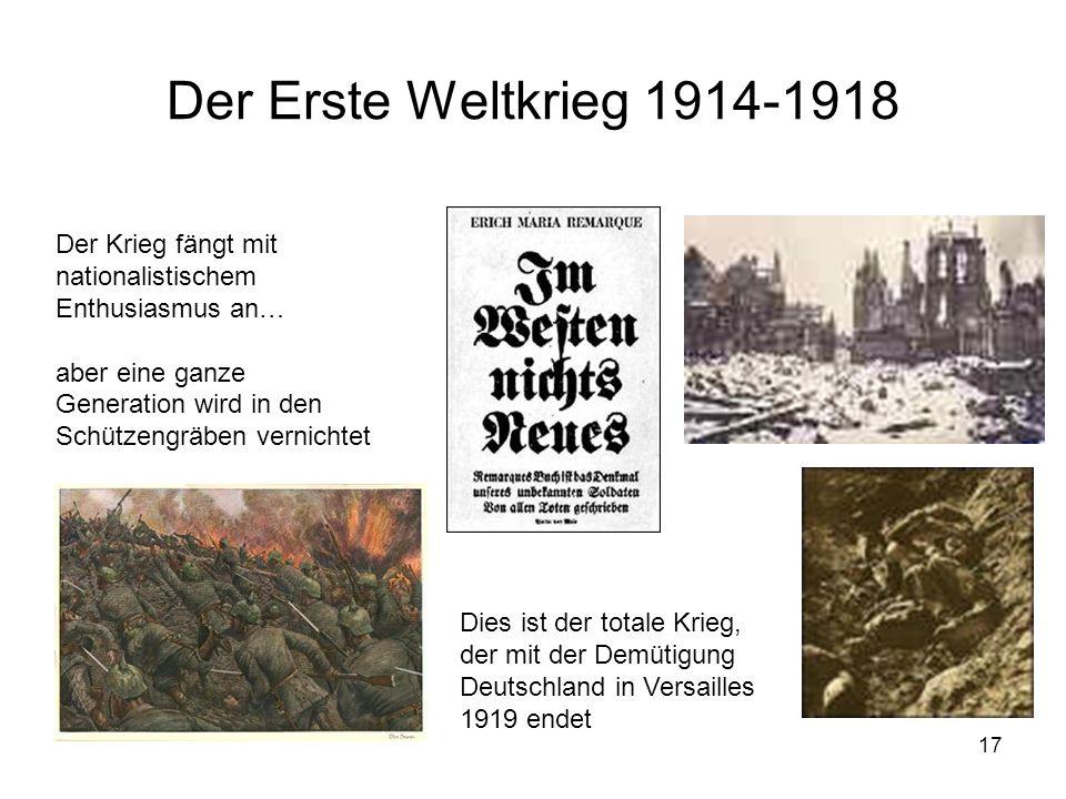 Der Erste Weltkrieg 1914-1918 Der Krieg fängt mit nationalistischem Enthusiasmus an…