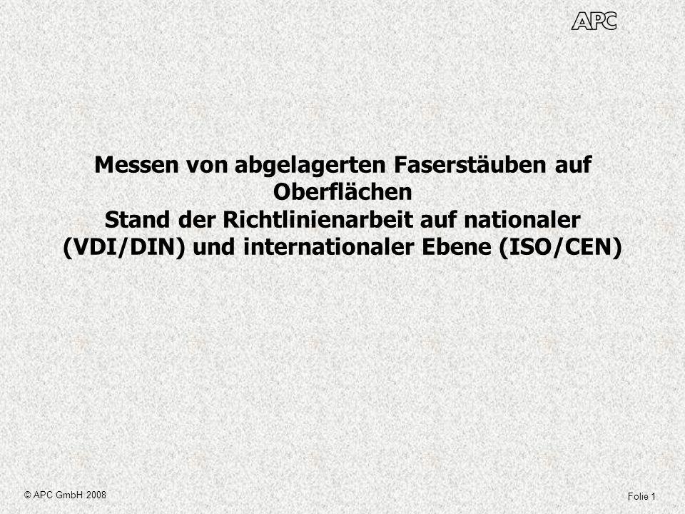 Messen von abgelagerten Faserstäuben auf Oberflächen Stand der Richtlinienarbeit auf nationaler (VDI/DIN) und internationaler Ebene (ISO/CEN)