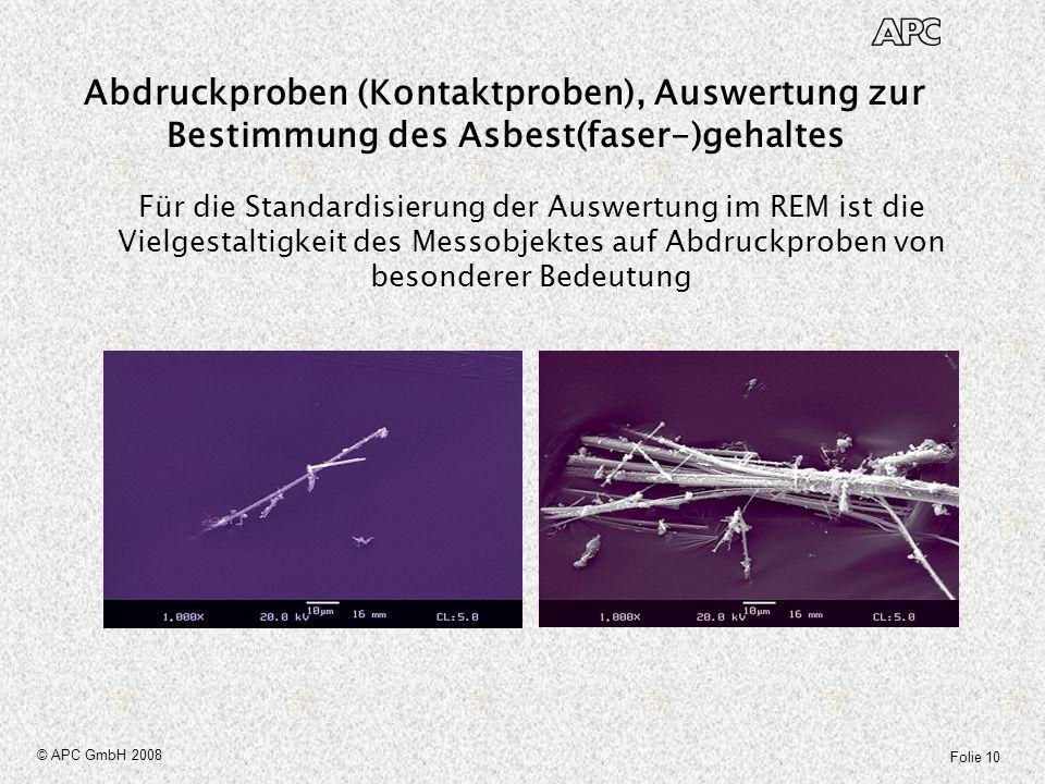Abdruckproben (Kontaktproben), Auswertung zur Bestimmung des Asbest(faser-)gehaltes