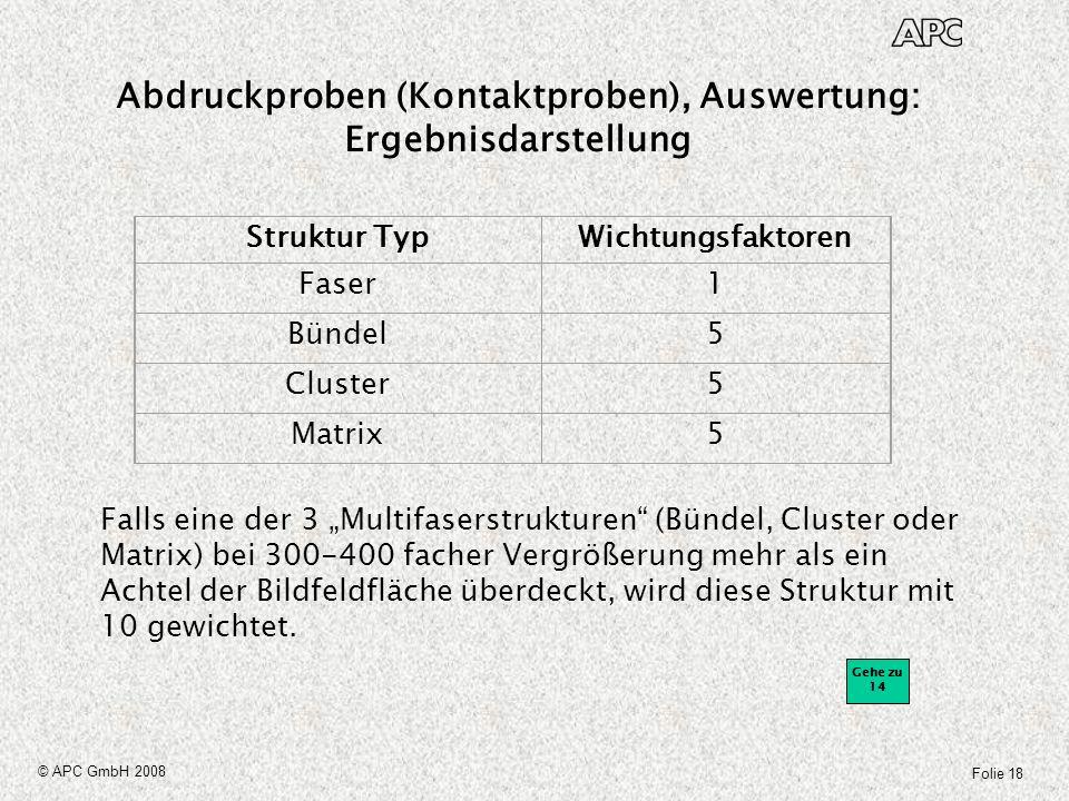 Abdruckproben (Kontaktproben), Auswertung: Ergebnisdarstellung