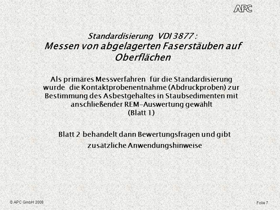 Standardisierung VDI 3877 : Messen von abgelagerten Faserstäuben auf Oberflächen