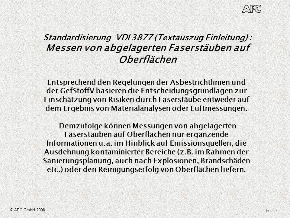 Standardisierung VDI 3877 (Textauszug Einleitung) : Messen von abgelagerten Faserstäuben auf Oberflächen