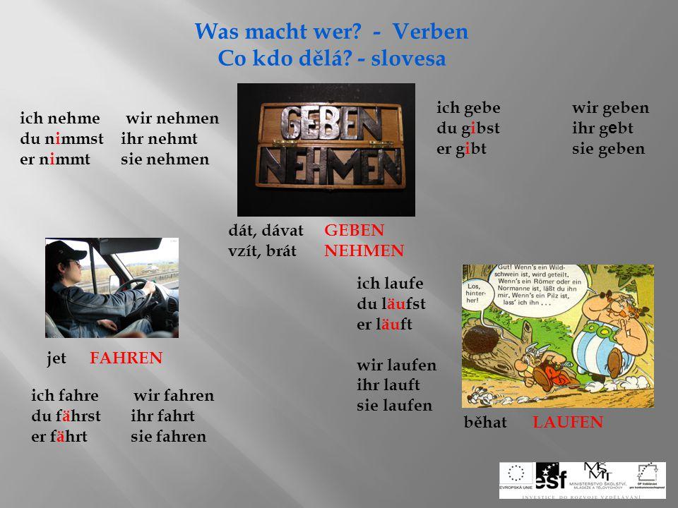 Was macht wer - Verben Co kdo dělá - slovesa