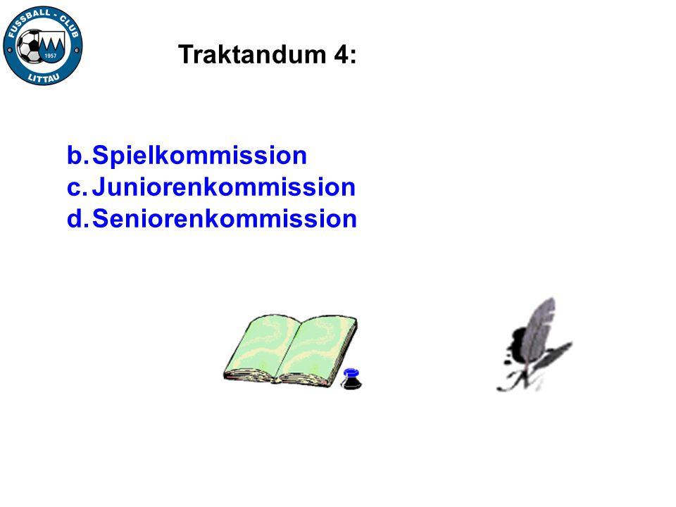 Traktandum 4: Spielkommission Juniorenkommission Seniorenkommission