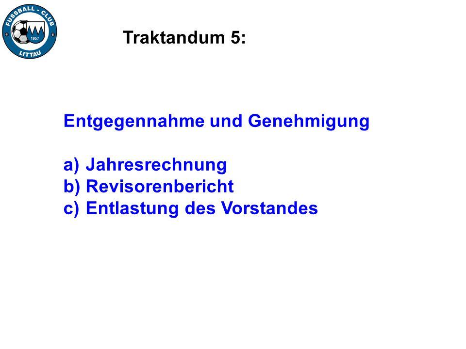 Traktandum 5: Entgegennahme und Genehmigung. Jahresrechnung.