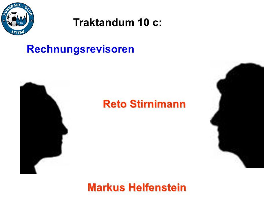 Traktandum 10 c: Rechnungsrevisoren Reto Stirnimann Markus Helfenstein