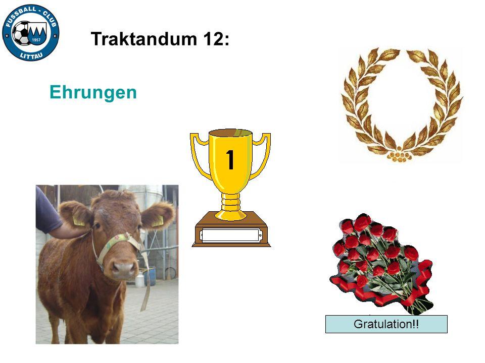 Traktandum 12: Ehrungen Gratulation!!