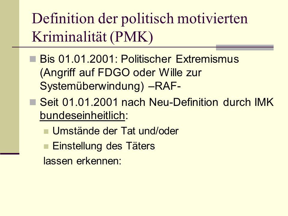 Definition der politisch motivierten Kriminalität (PMK)