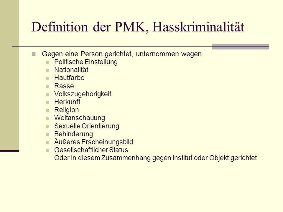 Definition der PMK, Hasskriminalität