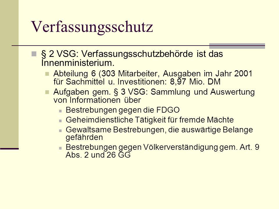 Verfassungsschutz § 2 VSG: Verfassungsschutzbehörde ist das Innenministerium.