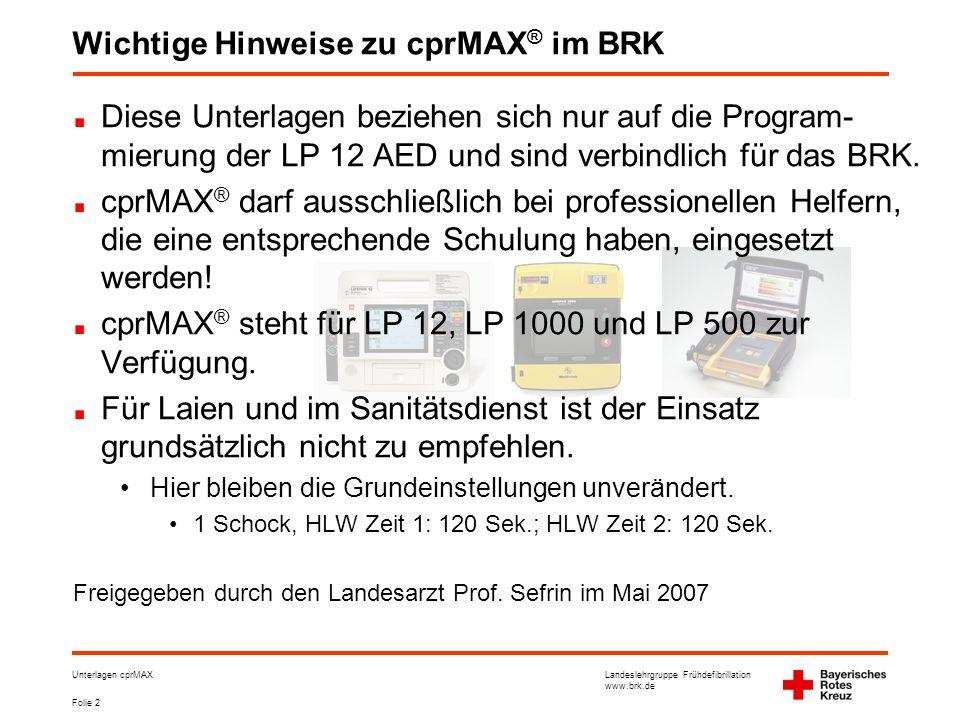 Wichtige Hinweise zu cprMAX® im BRK
