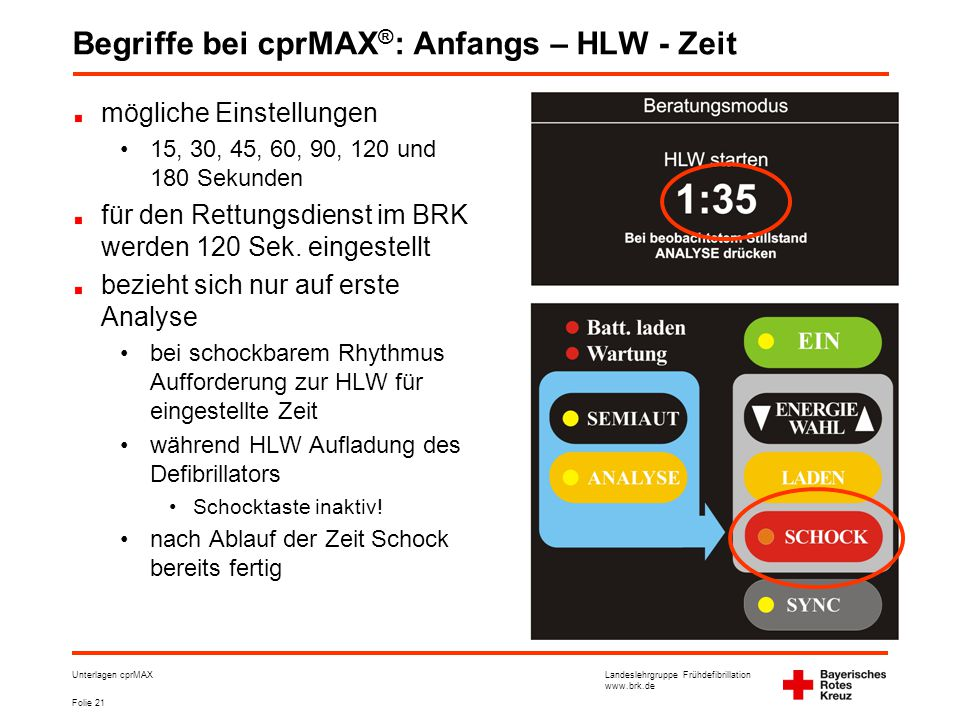 Begriffe bei cprMAX®: Anfangs – HLW - Zeit