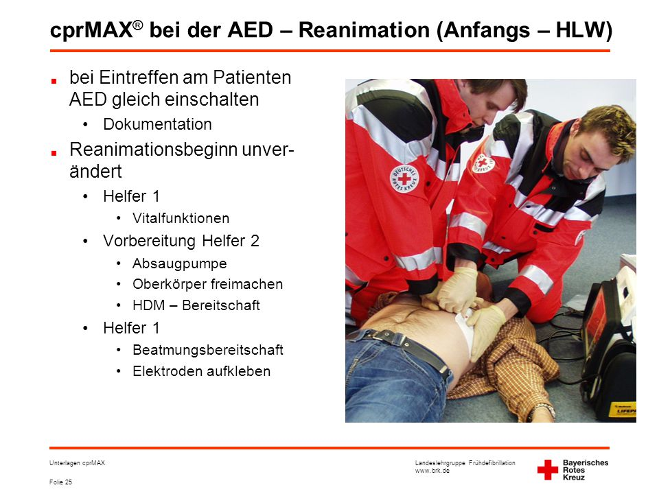 cprMAX® bei der AED – Reanimation (Anfangs – HLW)