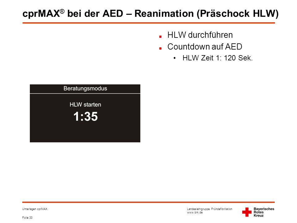 cprMAX® bei der AED – Reanimation (Präschock HLW)