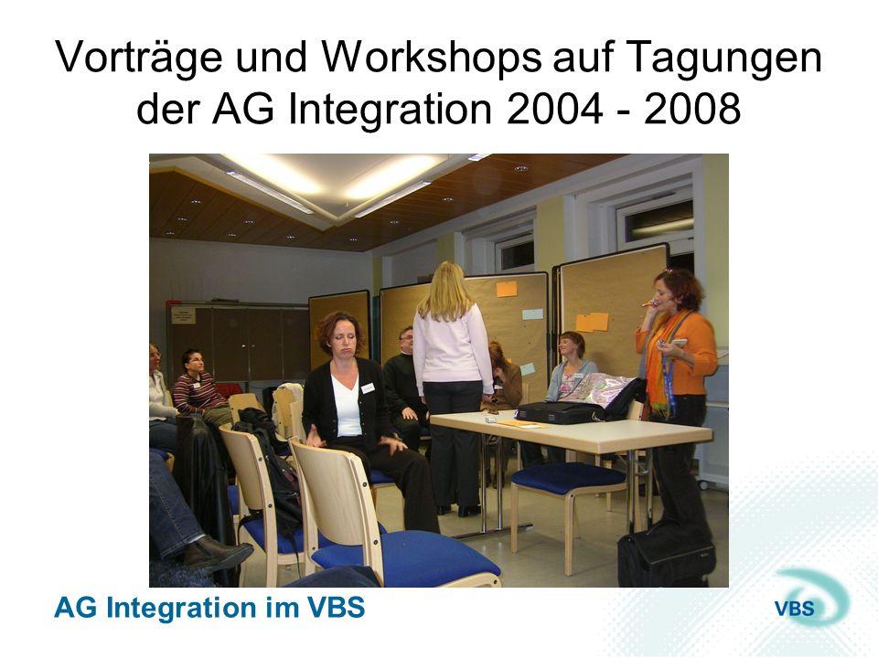 Vorträge und Workshops auf Tagungen der AG Integration 2004 - 2008