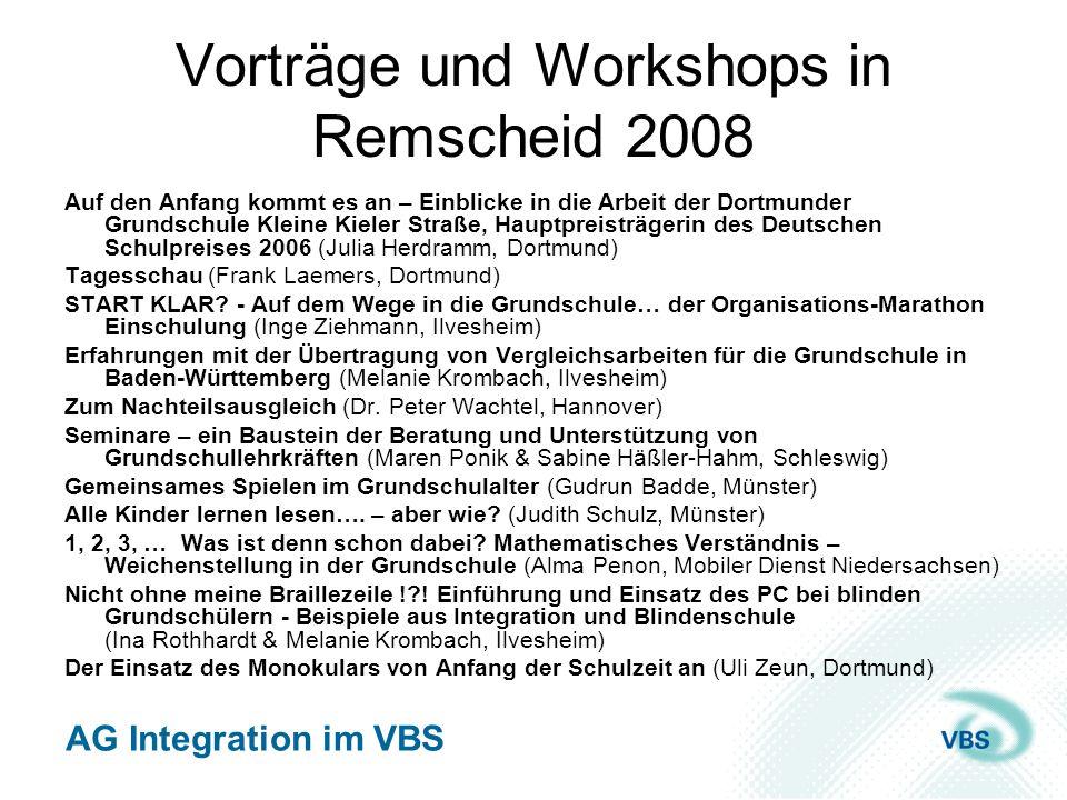 Vorträge und Workshops in Remscheid 2008
