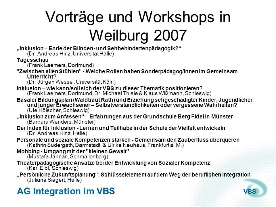 Vorträge und Workshops in Weilburg 2007