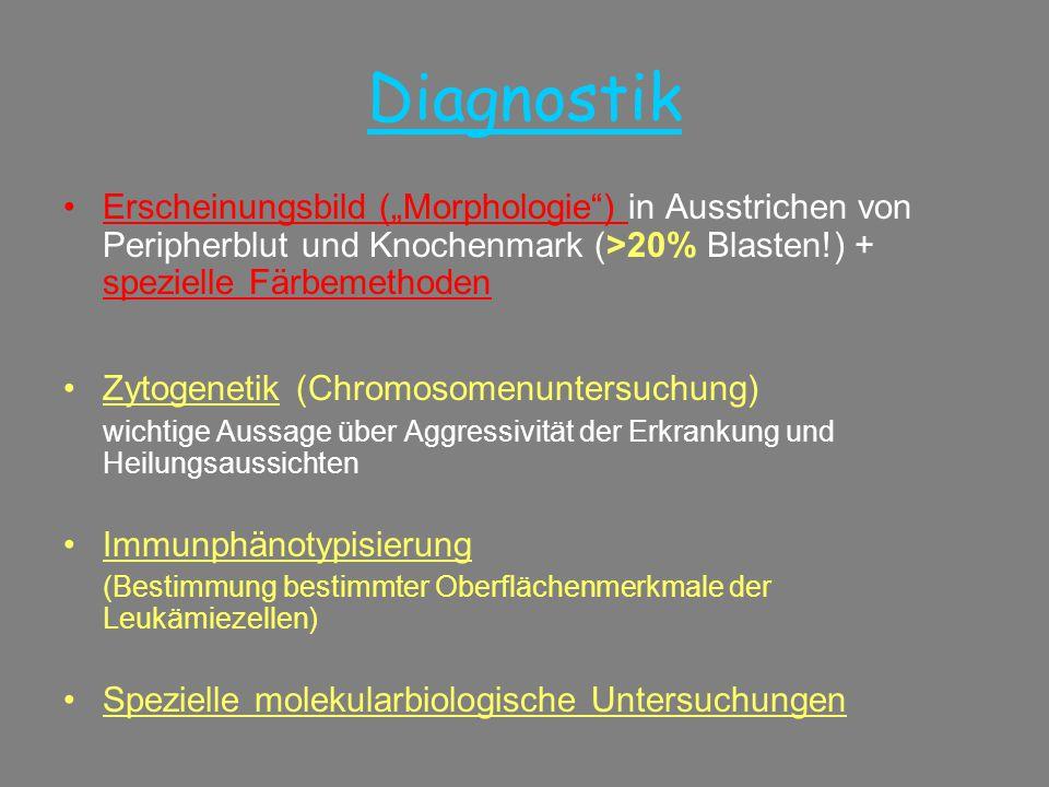 """Diagnostik Erscheinungsbild (""""Morphologie ) in Ausstrichen von Peripherblut und Knochenmark (>20% Blasten!) + spezielle Färbemethoden."""
