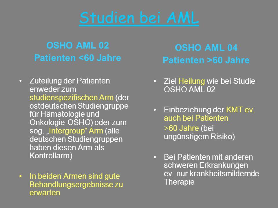 Studien bei AML OSHO AML 02 OSHO AML 04 Patienten <60 Jahre