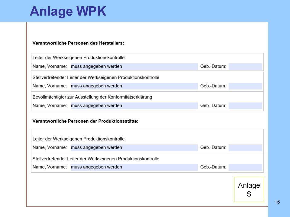 Anlage WPK Anlage S
