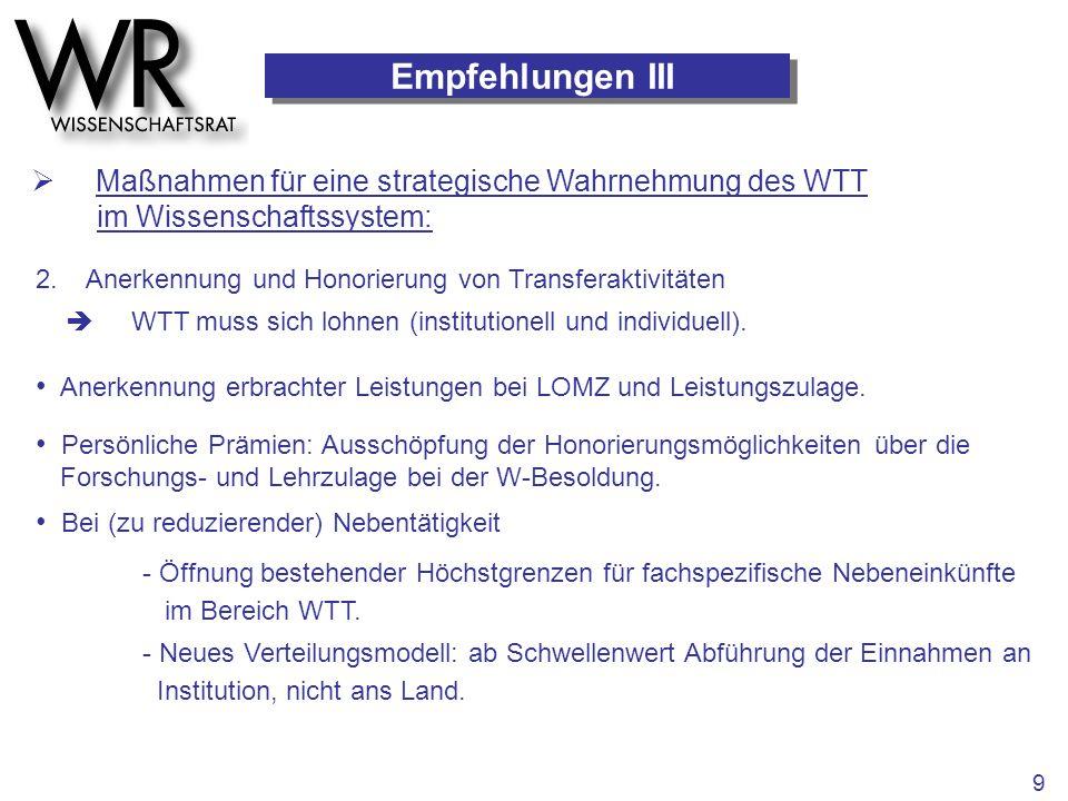 Empfehlungen III  Maßnahmen für eine strategische Wahrnehmung des WTT